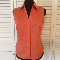 Perfect Orange Top Very classic button up sleeveless top.  Excellent condition East 5th Tops Button Down Shirts