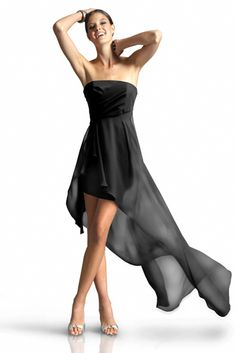 Stretch Taffeta Strapless Dress With Draped Bodice, Empire Waistline With Chiffon Overskirt And Short Slim Skirt.