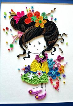 Paper Quilled 'Evelynn' cute little girl Doll por IvyArtWorks