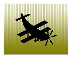 Biplane Aircraft Children's Airplane Print Wall Art