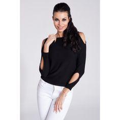 Bluza casual neagra de dama cu decupaje decorative Fobya  #bluzetricotatedama Casual, Tops, Women, Fashion, Tricot, Moda, Fashion Styles, Fashion Illustrations, Woman