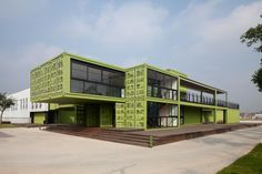With the recent popularity of container architecture, we are seeing some beautiful designs from recycled freight containers, the new hotel and office for Tony's Farm in Shanghai, by design firm playze, Container Home Designs, Container House Plans, Container Architecture, Architecture Design, Contemporary Architecture, Sustainable Architecture, Shipping Container Office, Shipping Container Buildings, Shipping Containers