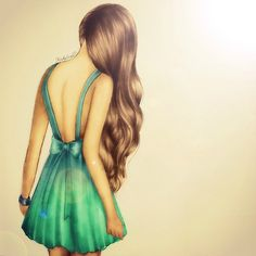 {Sketch} Green dress, great hair. Discover and shop your favorite fashions right on your phone. Download our app at getrockerbox.com.