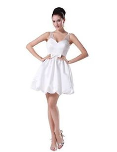 Dressystar Short Prom Gowns Wedding Dresses Beaded Visible Straps