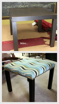 Ikea lack table turned upholstered bench for my bedroom!  Number two is on the way..
