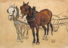 Zygmunt Józefczyk - DWA KONIE W ZAPRZĘGU Olej, tektura; 33 x 50 cm Sygnowany p.d.: Z.J.