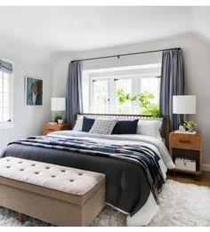 Our Master Bedroom Reveal + Get The Look - Emily Henderson - Emily Henderson Modern English Cottage Tudor Master Bedroom Cropped - Small Master Bedroom, Bedding Master Bedroom, Master Bedroom Design, Home Decor Bedroom, Modern Bedroom, Bedroom Ideas, Master Bedrooms, Bedroom Carpet, Bedroom Designs