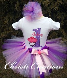 Baby Girl 1st Birthday Tutu  Cake Smash Outfit by ChristiCreations