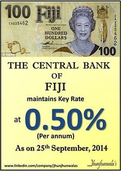 The #CentralBankOfFiji maintained its #PolicyRate at 0.50% per annum on 25th September 2014  Data compiled and released by the Central Bank of FIJI #AsiaPacific #Fiji #InterestRates #MonetaryPolicy #ReserveBankofFiji  For more Informative post click : https://www.linkedin.com/company/jhunjhunwalas