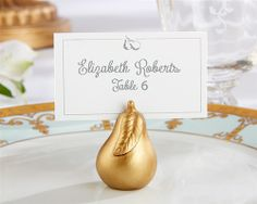 Perfect Pair Pear Place Card Holder -  The #perfectpair is perfect all the year, but especially in autumn at harvest time. Kate Aspen's golden pear place card holder is a #weddingfavor abundant with meaning.