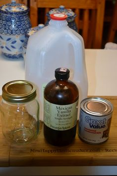 Ingredients:      14oz sweetened condensed milk  14oz milk (whole, lowfat, or skim - doesn't matter)  2 teaspoons vanilla extract OR Vanilla Coffee Syrup for a stronger flavor  a mason jar (quart is perfect)