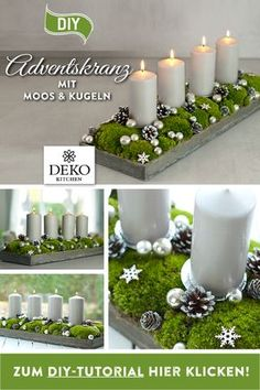 DIY Christmas decoration: pretty advent wreath with moss & balls - DIY advent wreath to make yourself. You can easily implement this elongated Advent arrangement with - Candle Tray, Pillar Candles, Green Country Kitchen, Christmas Time, Xmas, Easy Cupcake Recipes, Bohemian Bedroom Decor, Be Natural, Diy Wreath