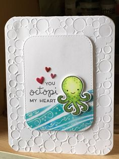 """Who doesn't love Lawn Fawn and their fun and whimsical stamps. I know I do and """" Octopi my heart"""" just cracked me up and m. Paper Cards, Diy Cards, Octopus Card, Valentine Day Love, Valentines, Nautical Cards, Lawn Fawn Stamps, Watercolor Cards, Copics"""