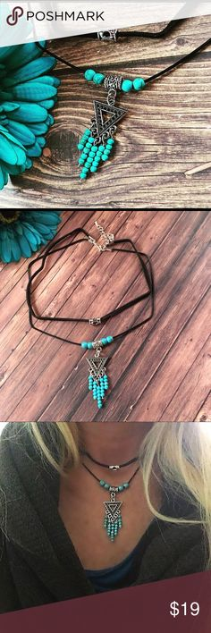 Boho layered necklace,layered choker,choker This is a connected layered choker necklace the first row is black suede measuring 13 inches with silver bead, the second row is 14 1/2 inches with a Aztec triangle design with turquoise howlite beads this pendant is 2 inches long, on a leather cord comes with a 2 inch extension and this is handmade new Jewelry Necklaces