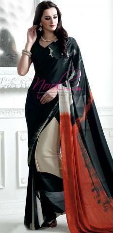 Italian Satin Crepe Saree Black Digital Geometric Printed SF3296D19329 Indian Dresses, Indian Outfits, Crepe Silk Sarees, Saree Floral, Sari Design, Jamdani Saree, Batik Fashion, Casual Saree, Elegant Saree