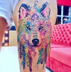48 Incredible Wolf Tattoos That Are Anything But Ordinary Lebendiges Aquarell Wolf Tattoo von Erick Silva Kunst Tattoos, Body Art Tattoos, New Tattoos, Sleeve Tattoos, Tattoo Art, Full Tattoo, Sketch Tattoo, Aquarell Wolf Tattoo, Watercolor Wolf Tattoo