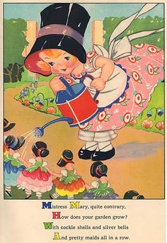 Vintage 1930's Nursery Rhyme Illustration Print by Ruth Newton, Mistress Mary in her Garden via Etsy.