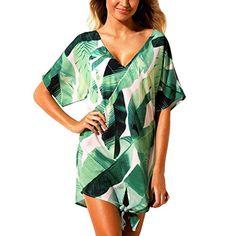 8e1e5edabb929 Sale blue l Women Beach Dresses Cover Ups Plants Print Tie Knot Mini Bikini  Beachwear from Chicloth. Best affordable Beach Cover-ups online store, ...