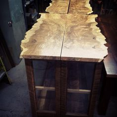 "34 Likes, 2 Comments - Salvage Works (@salvageworkspdx) on Instagram: ""Set of four curly maple live edge slab display cabinets done!"""