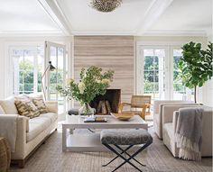 Symmetrical, simple, natural, comfort, classic, Black, white, grey, neutrals, Light wood, black metal, glass, linen, greenery. Stripes/horizontal wall panelling.