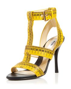 Moschino T-Strap Sandals - Ruler High Heel Shoes - Sandals - Bloomingdale's Yellow High Heels, Yellow Sandals, Strappy Sandals Heels, Pumps Heels, Yellow Pumps, T Strap Shoes, T Strap Sandals, High Heel Boots, Shoe Boots