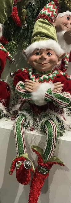 Christmas elf with posable arms and legs, Elias, 11 inches tall. Shelley B Home and Holiday.com