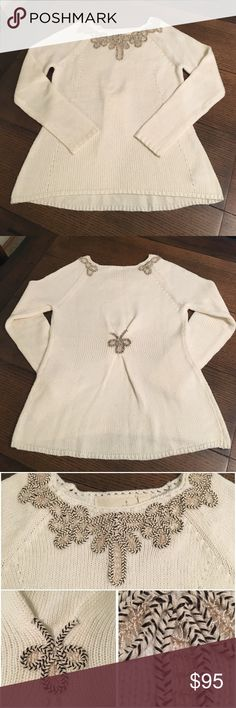 Anthropologie Sweater Excellent Used Condition Anthroplogie Sweater. Angel of the North brand made by Anthropologie. Size Medium. Cream with cord embellishments around the neckline as well as the back as shown in the above pictures. No signs of wear. Can be seen on the television show Chasing Life that aired on ABC Family. Anthropologie Sweaters Crew & Scoop Necks