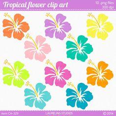 hibiscus clipart flower, luau clip art in tropical colors, .png digital flower   scrapbook supplies DIGITAL DOWNLOAD CA-329