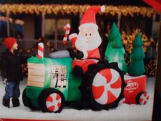8' LONG LIGHT UP SANTA TRACTOR AIRBLOWN INFLATABLE YARD DECOR Christmas Yard Decorations, Christmas Ornaments, Holiday Decor, Long Lights, Tractor, Light Up, Santa, Ebay, Christmas Jewelry