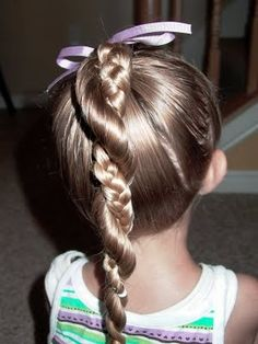 Shaunell's Hair: Little Girl's Hairstyles: Easy Twist Around Braided Ponytail 10-15 min