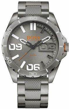 f44411d3844a HUGO BOSS Men s Orange Berlin Grey Steel Watch 1513289 Gris