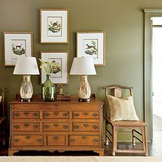 Phoebe used the same dark green (Palm Leaf by Sherwin-Williams) on the walls, trim, and built-in bookcases for a warm, enveloping effect.