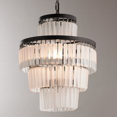 Check out Frosted Glass Rod Chandelier from Shades of Light