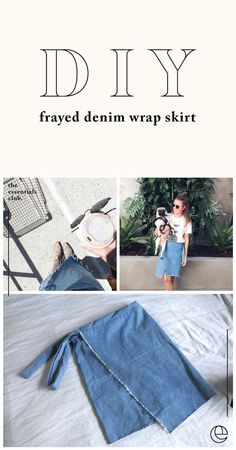 DIY: Frayed Denim Wrap Skirt — The Essentials Club // Creative DIY Hub - I in. , DIY: Frayed Denim Wrap Skirt — The Essentials Club // Creative DIY Hub - I introduce you to the world of wrap skirts. They're an essential in my wardr. Denim Wrap Skirt, Denim Crop Top, Wrap Skirts, Diy Clothing, Sewing Clothes, Gypsy Clothing, Wrap Skirt Tutorial, Diy Kleidung, Skirt Patterns