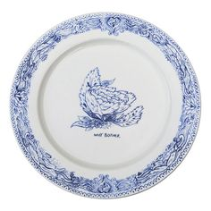 """flora """"why bother"""" plate, set of 4, by crooked darlings."""