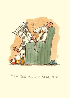 M149 MEN CAN MULTITASK TOO... a Two bad Mice card by Anita Jeram