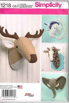 Plush Unicorn Elephant Deer Giraffe Animal Safari Heads Sewing Pattern Simplicity 1218 Wall by PeoplePackages