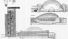 Hannes Meyer / Hans Wittwer, Original plans for a competition design for the 'Palace of the League of Nations', Geneva, 1927: assembly hall, floor plans for the basement and ground floor Bauhaus-Archiv Berlin