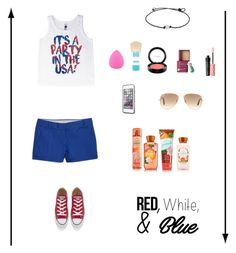 """""""Independence Day Outfit #3"""" by soccer-tumblr ❤ liked on Polyvore featuring J.Crew, Zodaca, Maybelline, MAC Cosmetics, Benefit, LifeProof, Ray-Ban and Converse"""