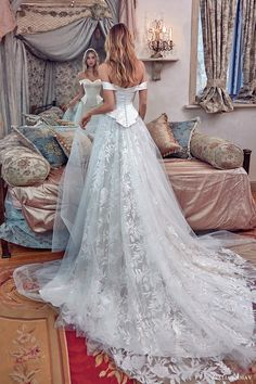 galia lahav bridal spring 2017 off shoulder sheath wedding dress (alexandra) bv peplum ball gown overskirt -- Galia Lahav Spring 2017 Couture Wedding Dresses Dream Wedding Dresses, Bridal Dresses, Wedding Gowns, Blue Wedding, Trendy Wedding, 2017 Wedding, Wedding Ideas, Wedding Blog, Rustic Wedding