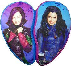 Disney The Descendants Isle BFF Heart Shaped Dec Pillow: Your daughter will love he new descendants heart shaped Isle BFF Dec pillow featuring mal and evil. The pillow is made of 2 heart halves, held together with Velcro. Made of polyester. Disney Descendants Dolls, Les Descendants, Grand Prince, Mal And Evie, Disney Decendants, Baby Alive, Pillow Sale, American Girl, Heart Shapes