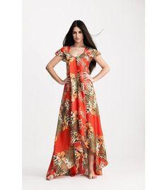 Vestido Largo Indio Palma Rojo