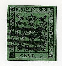 Con punto 5 c. verde (7). Bot.