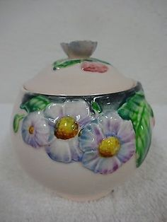 CARLTON-WARE-Made-in-England-floral-covered-porcelain-preserve-jam-jar