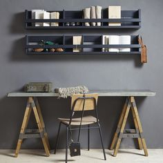 See my Inspiring Industrial Home Office Ideas which include an industrial office desk, concrete chair, black clamp lamp and wall wire storage shelving rack