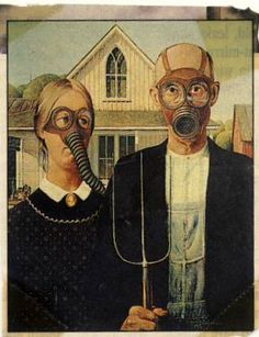 """Image: McGlinch American Gothic Parodies is a compendium of images based on Grant Wood's iconic painting """"American Gothic.""""  It was assembled by an illustrator named McGlinch from his grandmother's collection."""