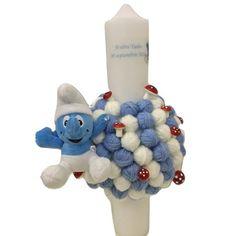 Lumanare botez gheme bleu, NicoEvents, bleu, 40 cm Smurfs, Candy, Bar, Sweets, Candy Bars, Chocolates