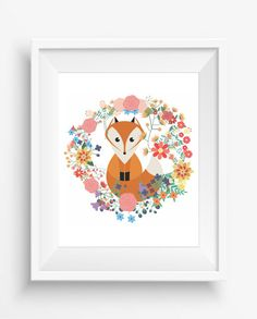 Cute Fox,fox love,watercolor,digital art print,nursey decor,children room decor,Maternity Gift,300 dpi, high resolution,