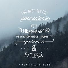 Therefore, as God's chosen people, holy and dearly loved, clothe yourselves with compassion, kindness, humility, gentleness and patience. Colossians 3:12