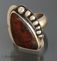 Sterling Silver Ring, Gemstone Ring, Sonora Plume Agate, Red Stone Ring, Cocktail Ring, Size US 6.25